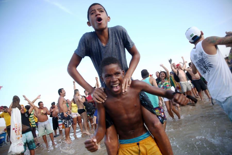 Brazilians celebrate Victory over chile