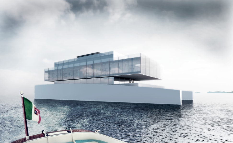 glass superyacht of the future side view