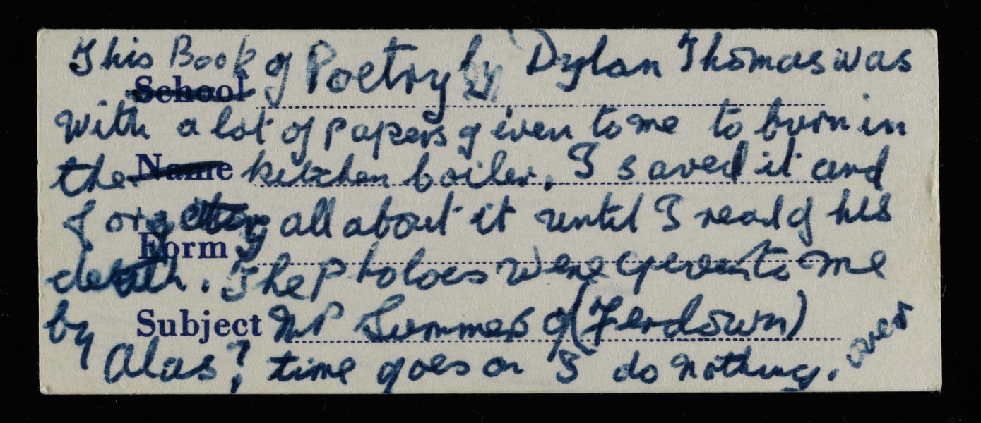 Dylan Thomas long-lost notebook label