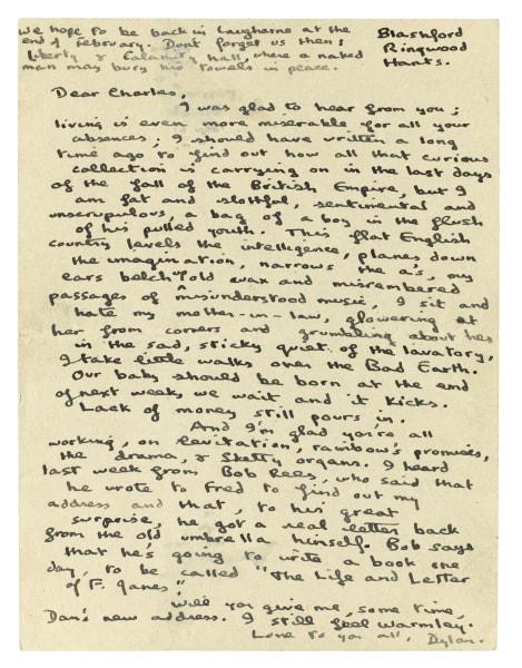 Dylan Thomas letter