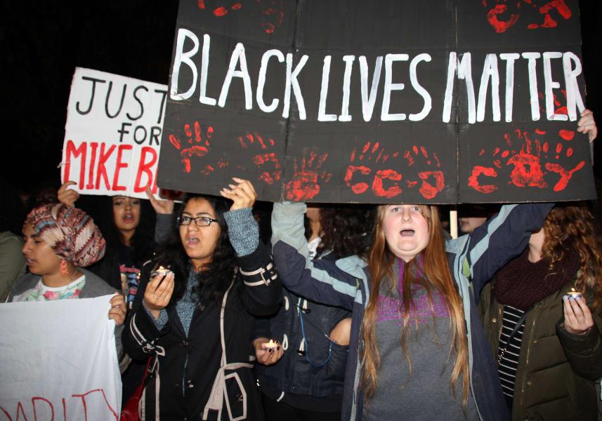 Black Lives Matter banner London to Ferguson