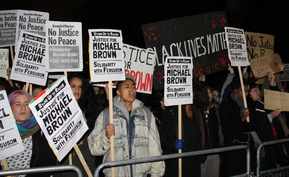Protesters at London to Ferguson rally