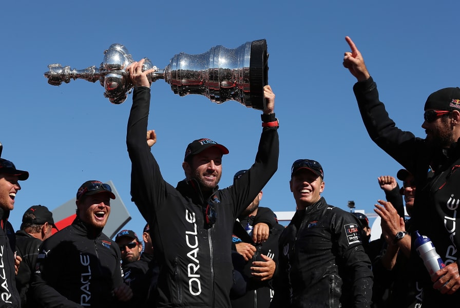ben ainslie america's cup celebration
