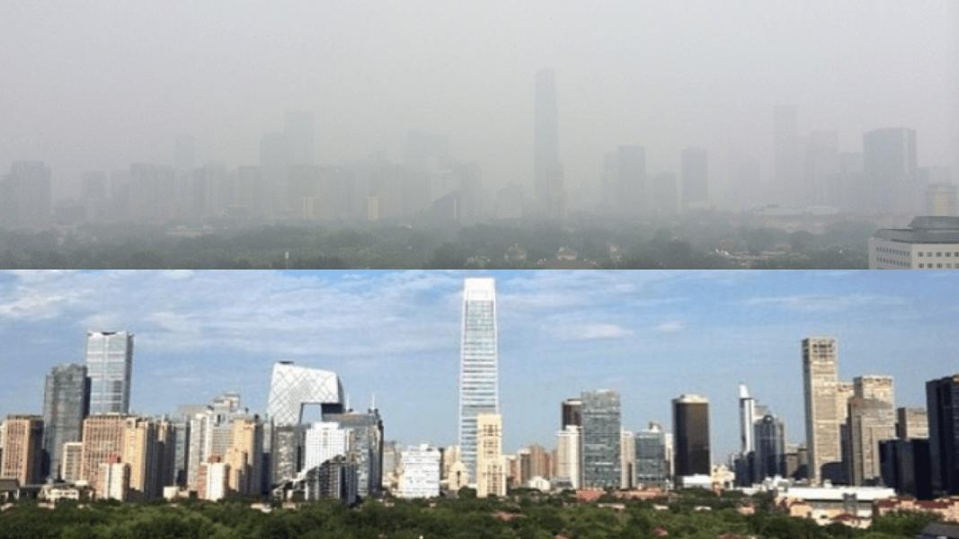 Beijing smog split screen