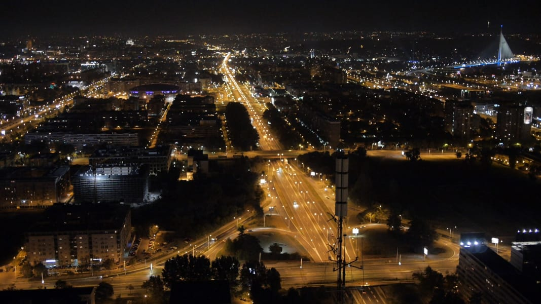 belgrade night view drone on the road serbia