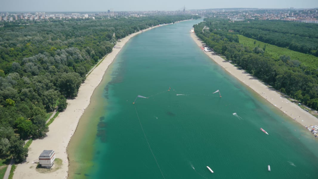 belgrade drone river overview on the road serbia