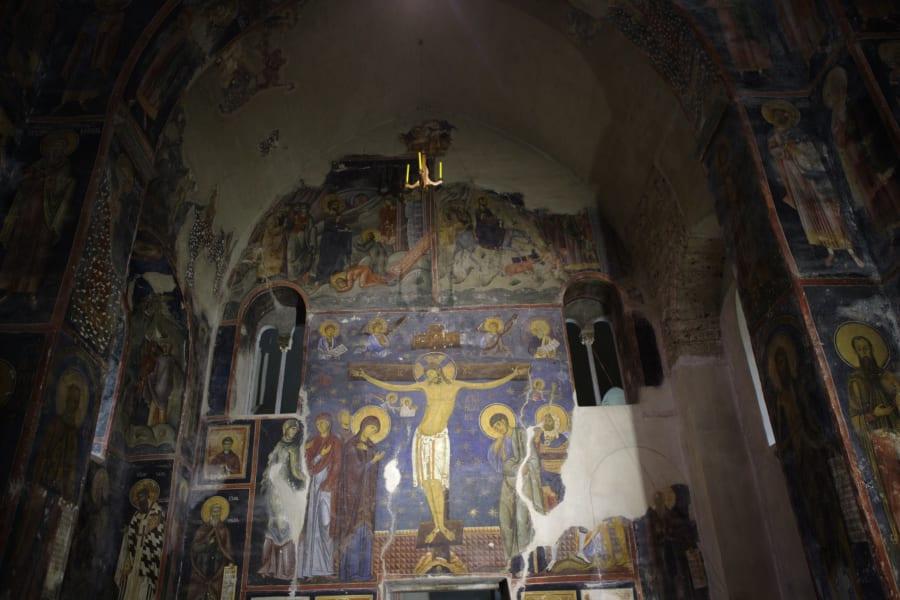studenica monastery interior on the road serbia