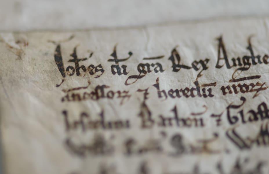 Magna Carta Salisbuy Cathedral closeup