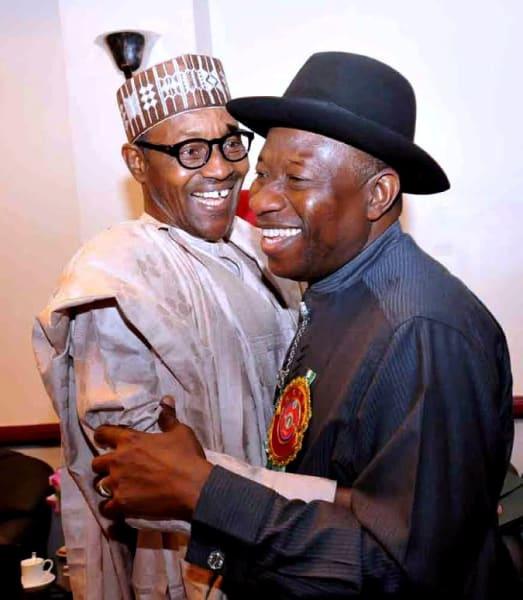 Nigeria Elections Goodluck and Buhari Hug