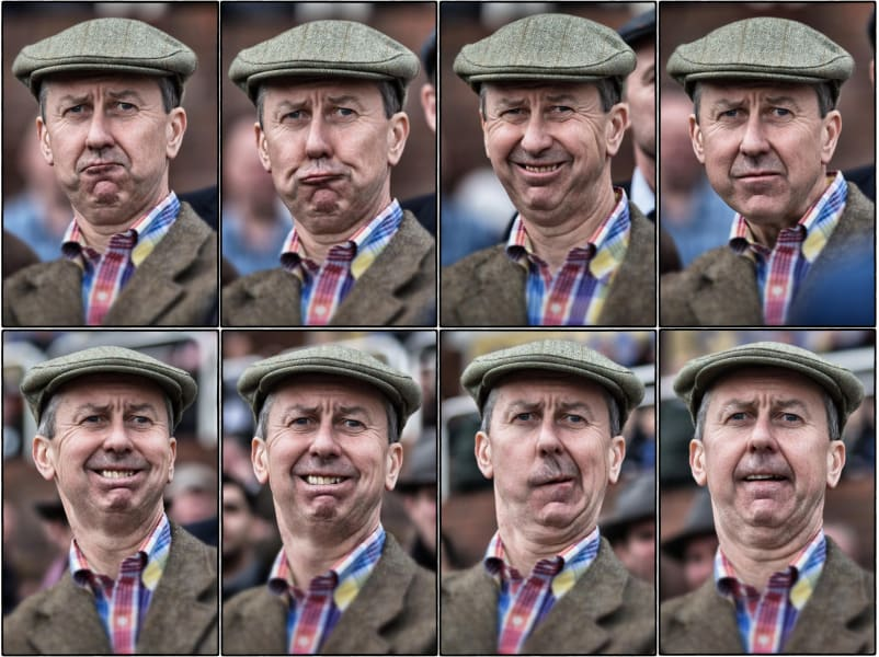 horse racing face reactions man