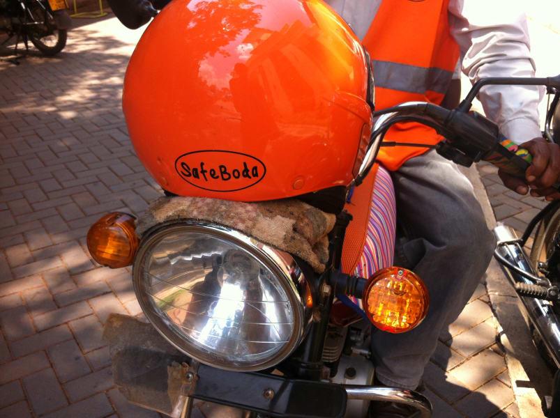 safeboda 2 - helmet on bike