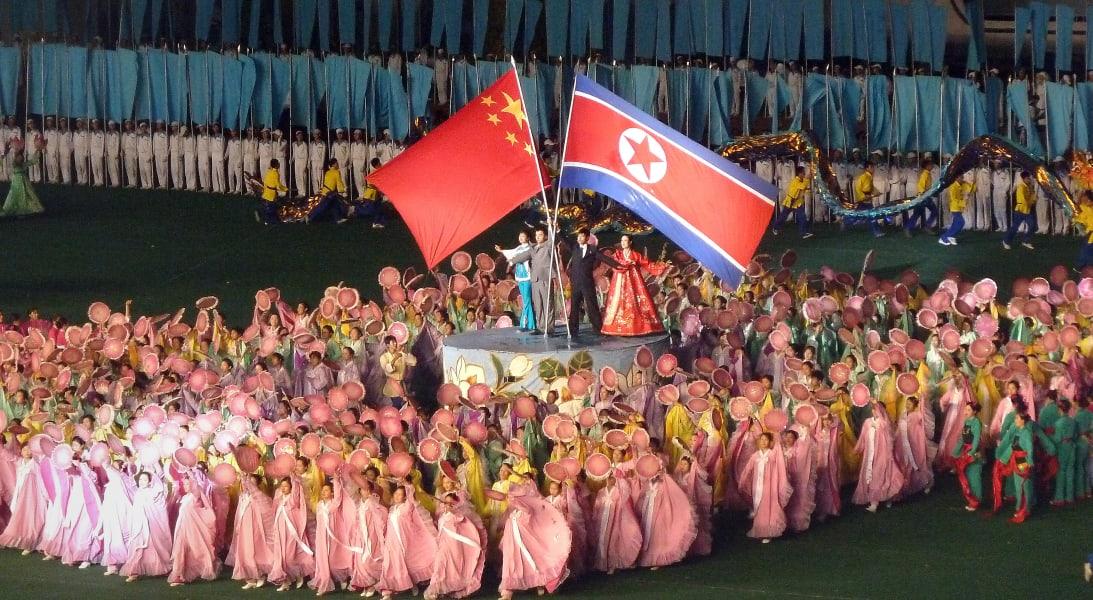 North Korea China flag