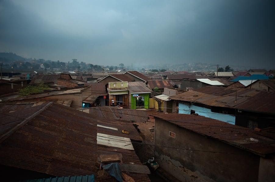 Kampala slum form above Uganda