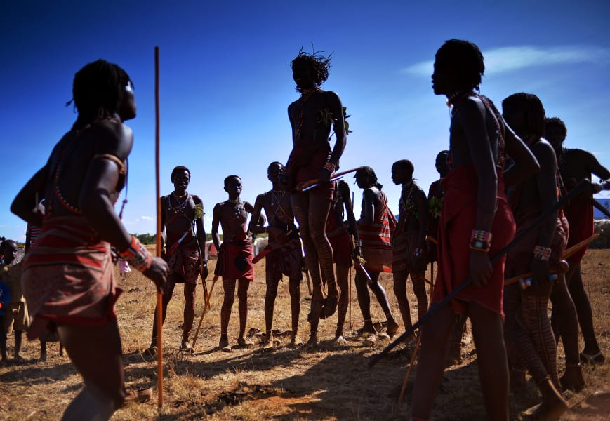 Maasai warriors jumping dance