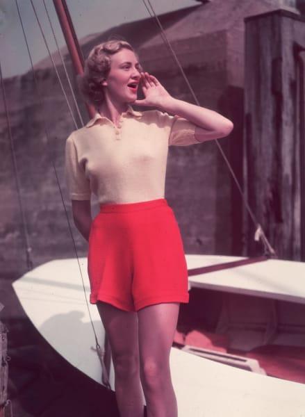 nautical fashion red shorts