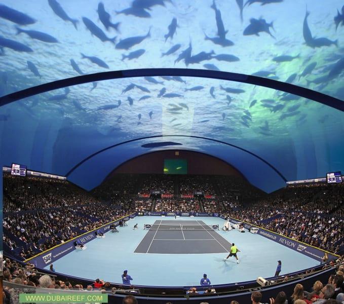 underwater tennis court view