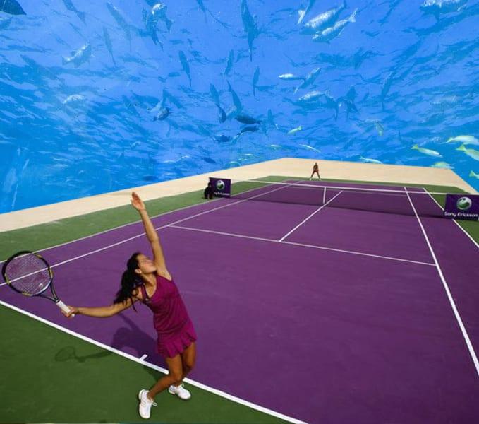 underwater tennis service view
