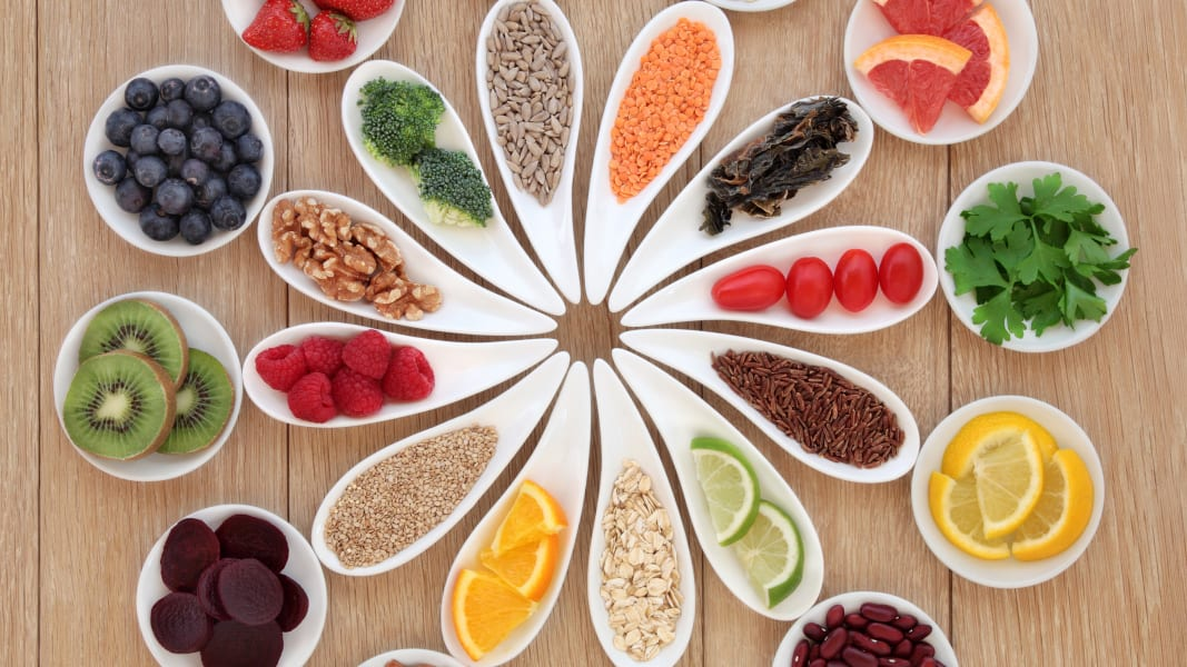 fruits nuts vegetables grains STOCK