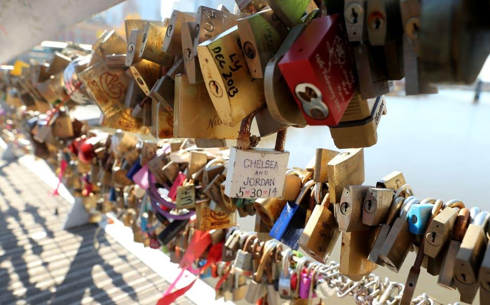 Defining moments - padlocked bridge