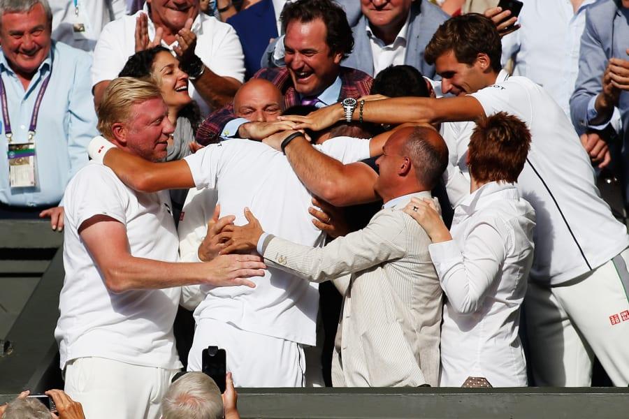 Djokovic Wimbledon 2014 celebration