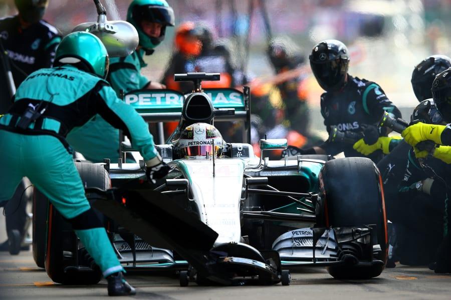 Hamilton pit stop