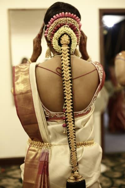 india gold wedding hair