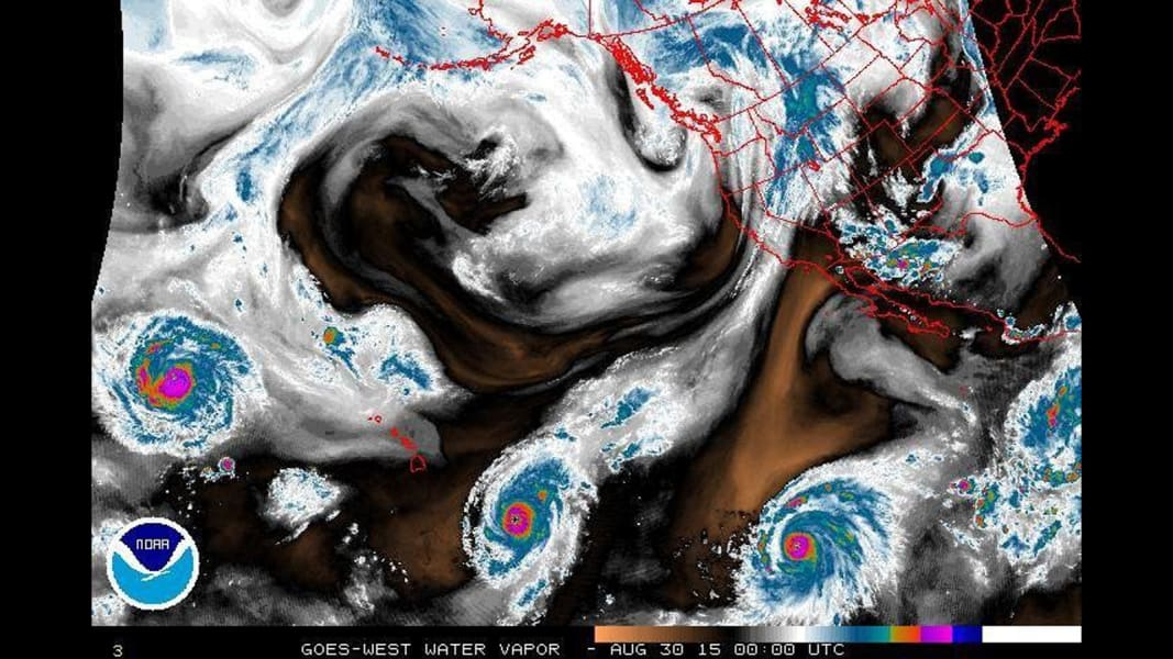 three pacific storms water vapor