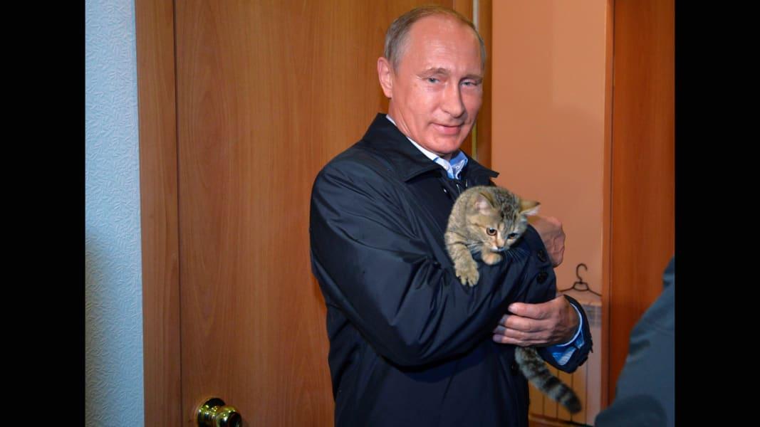 Putin holds a cat