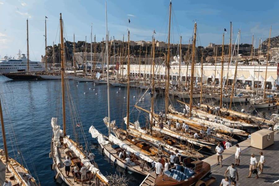 monaco classic week harbour boats
