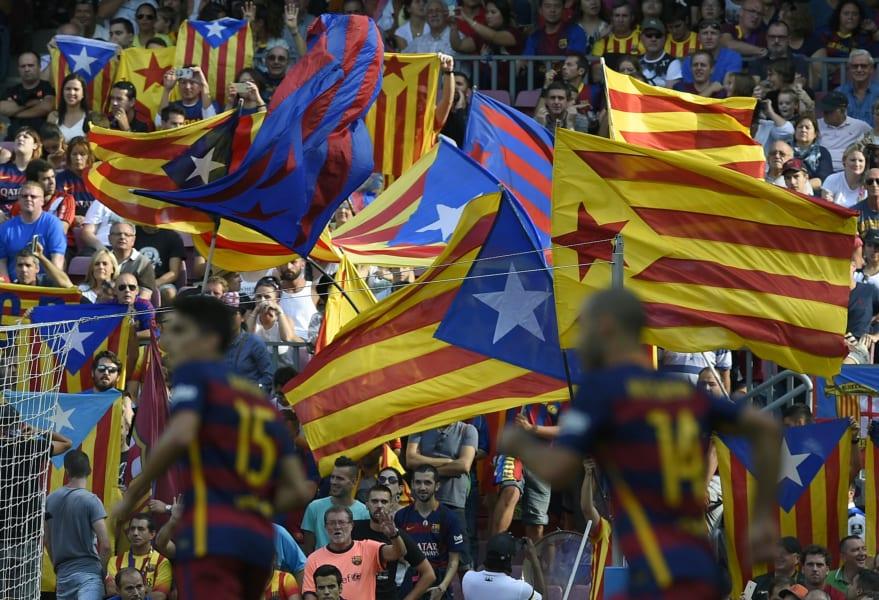 catalan flags barca las palmas