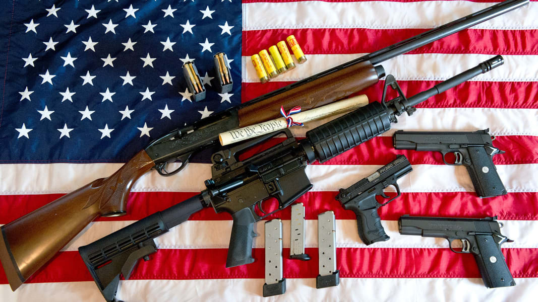 gun american flag illustration