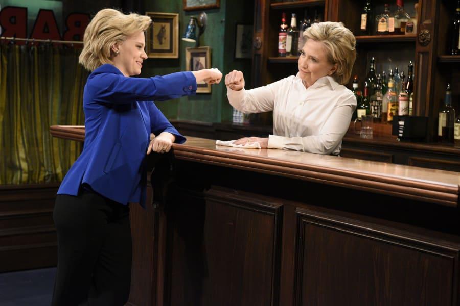 Kate McKinnon as Hillary Clinton and Hillary Clinton as Val