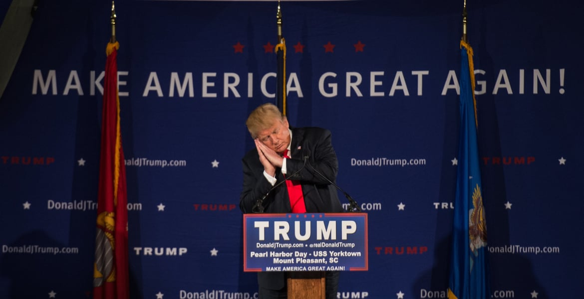 Donald Trump pretends to sleep