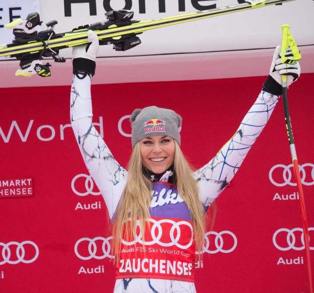 Lindsey Vonn celebrates podium