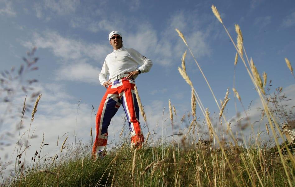 Ian Poulter Union Jack trousers