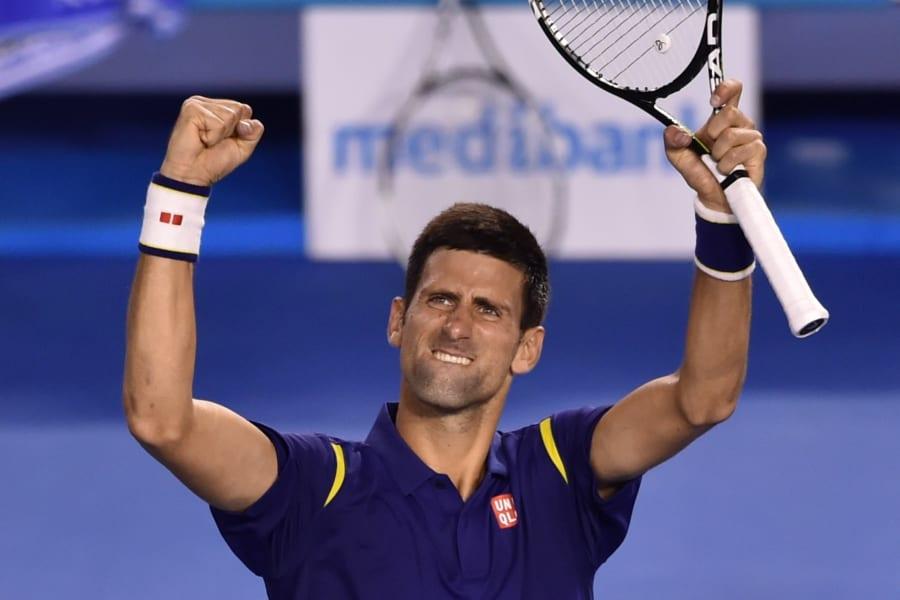 novak djokovic celebrates semifinal
