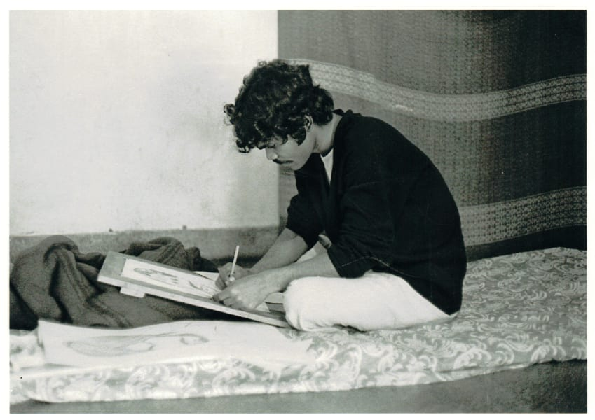 Mahanandia on bed drawing