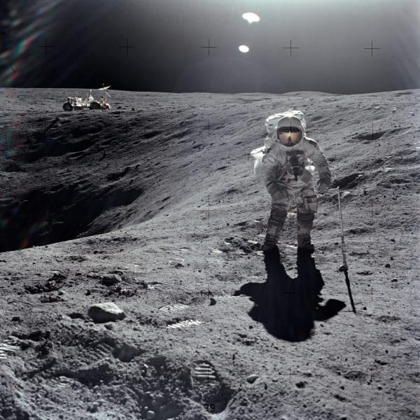 Charles Duke walks on the moon