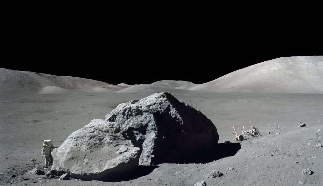 Harrison Schmitt walks on the moon
