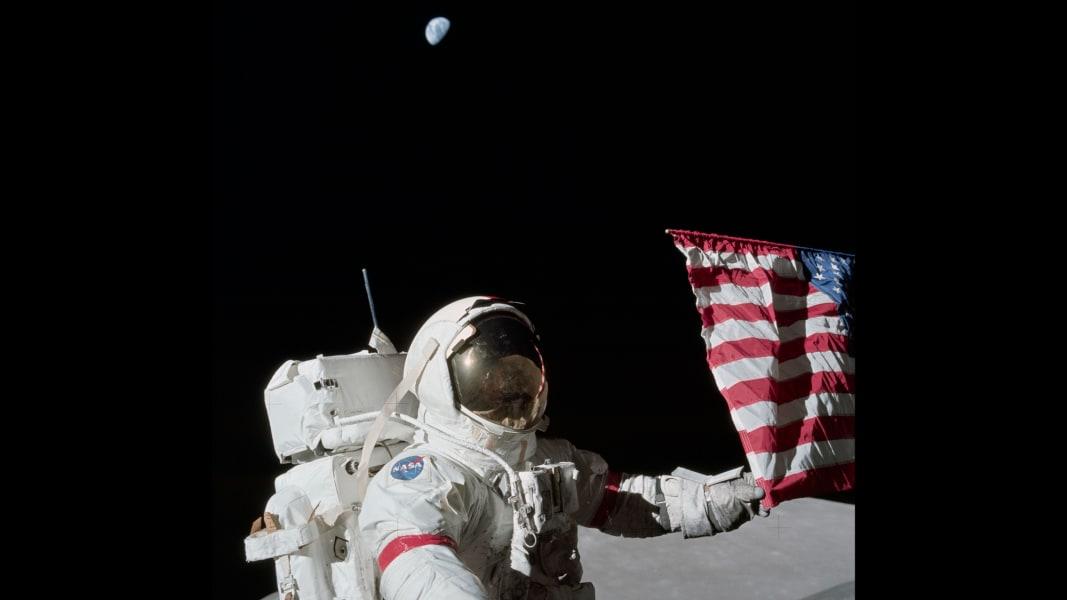 Gene Cernan walks on the moon