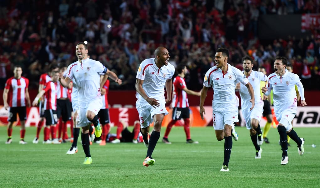 Sevilla celebrate Europa League