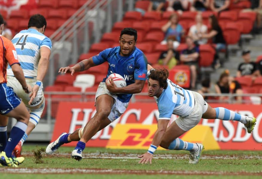 Rugby Sevens Samoa's Tomasi Alosio