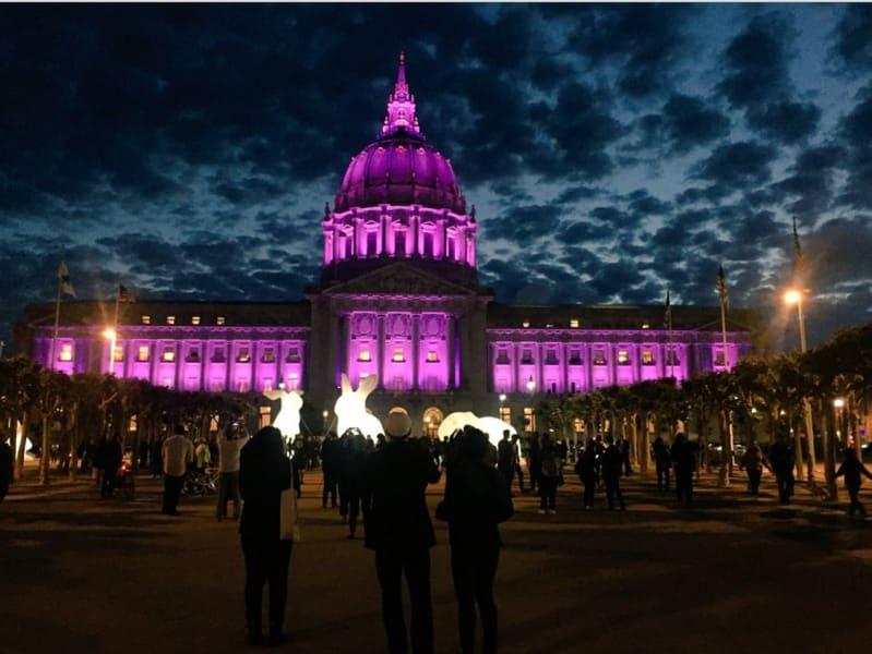 San Francisco city hall Prince purple