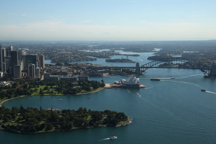 sydney from the air harbour