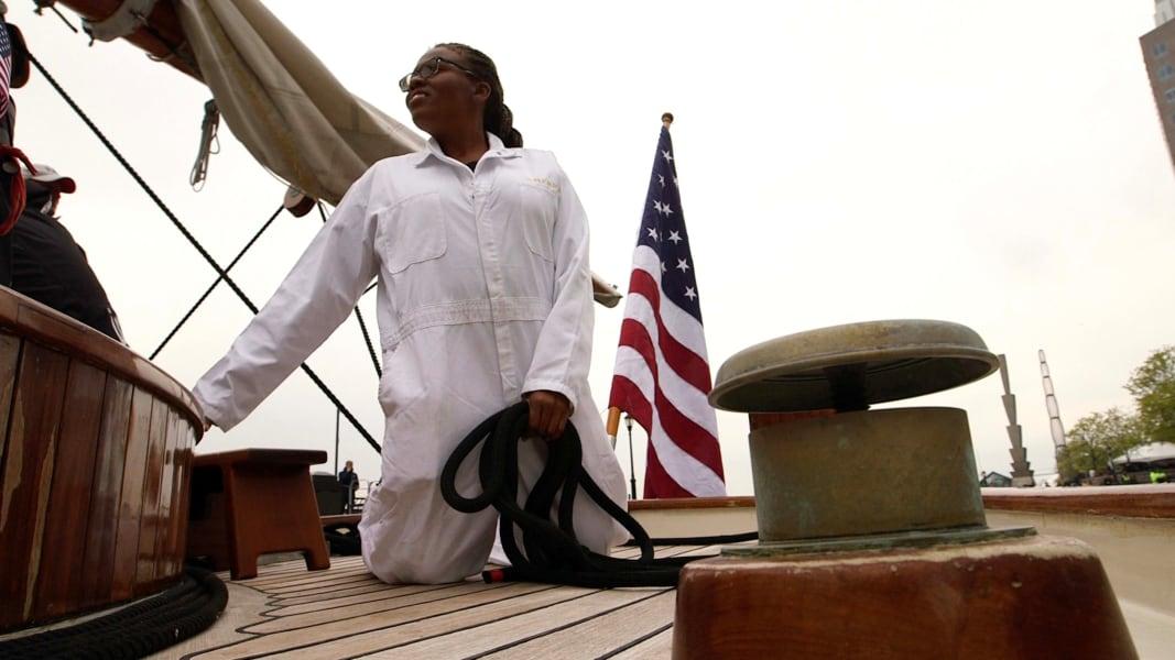america latasha kneeling on deck