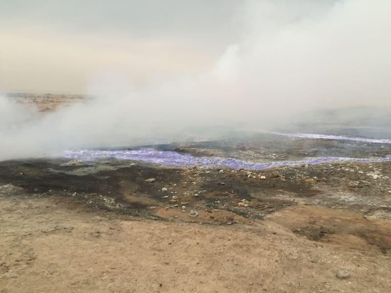 burning sulfur fields near mosul 1