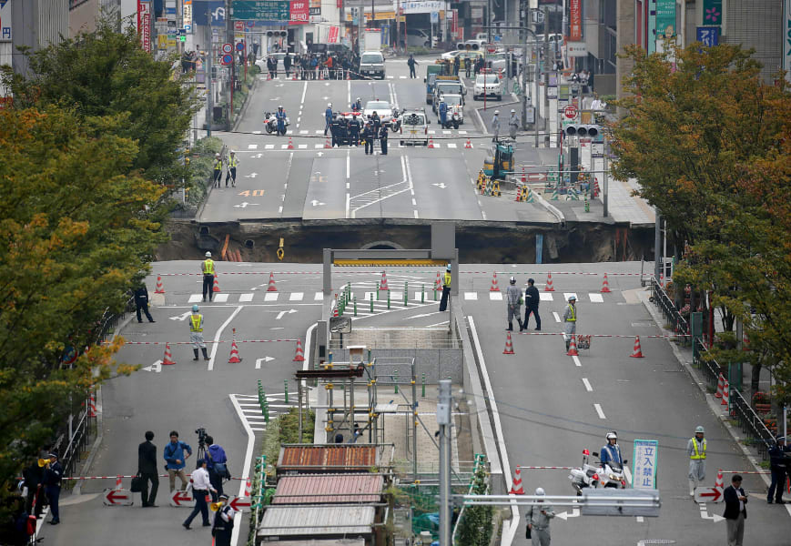 japan fukuoka sinkhole
