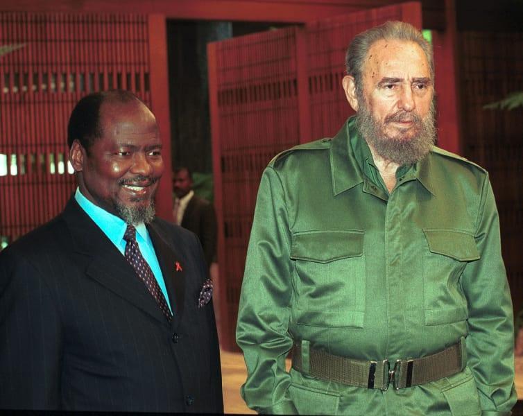 Fidel Castro with joaquim Chissano