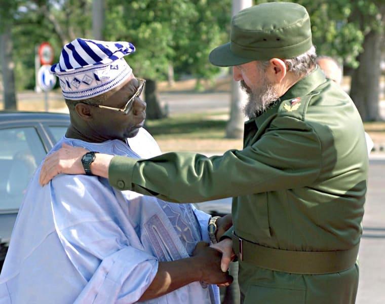 Fidel Castro with Obasanjo