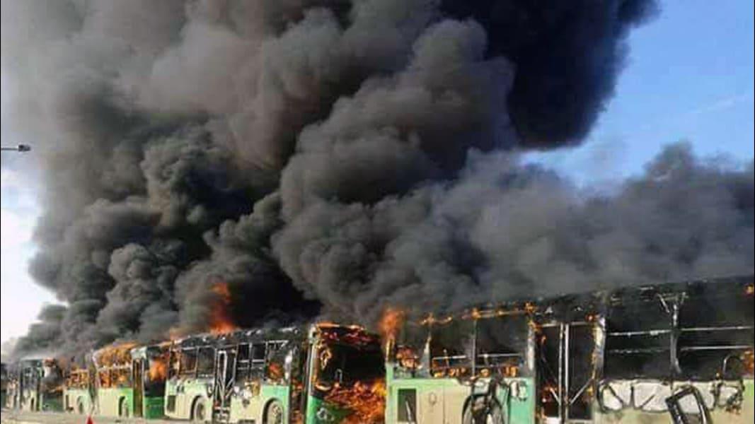 Aleppo Bus Burning 1218